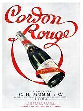 CORDON ROUGE G.H. MUMM CHAMPAGNE REIMS BOTTIGLIA AMERIGO SAGNA E VIRTEL 1937