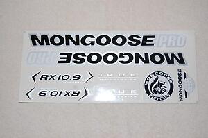 Mongoose PRO RX 10.9 Titanium Stickers Black, Silver & White.