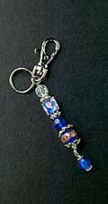 Purse Charm Blue Square Glass Bead Silver Plated Key Chain Crystal Free Shipping