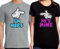 I'm Hers She's Mine Hands Pointing T-Shirt Couples Valentines Day Pair Cute Gift