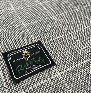 Vintage Tweed Fabric By Reid & Taylor, Grey & White Check/Plaid 1.80 Meters 420g