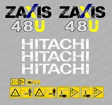 HITACHI ZAXIS 48U MINI DIGGER DECAL STICKER SET WITH SAFETY WARNING SIGNS