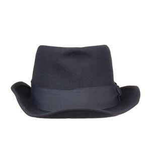 RRP €150 SUPER DUPER HATS Rabbit Yarn Trilby Hat Size 59 Felt HANDMADE in Italy