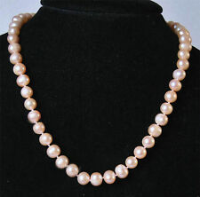 """8-9MM Real Natural Pink Akoya Cultured Pearl Jewelry necklace Long 18"""""""