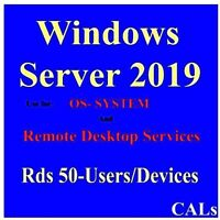 REMOTE DESKTOP SEVICES, 50 USERS/DEVICES, OS SYSTEM, WINDOWS SV 2019 50 RDS CALS