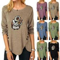 Women Long Sleeve T Shirt Casual Loose Blouse Print Pullover Buttons Tee Tops