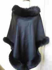 Real Fox Fur  Real cashmere  poncho Cape/Coat/Wraps/black Cloak /elegant