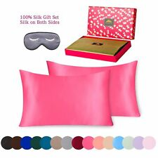 Silk Pillowcase 3 piece Gift Set 100% Pure Mulberry King Hot Pink