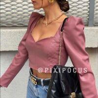 Zara Woman Neuf avec étiquettes SS20 bordeaux en cuir synthétique Crop Top ref 7901//224