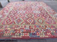 Kilim Old Traditional Hand Made Afghan Oriental Blue Wool Large Kilim 495x406cm