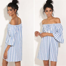 AU Sexy Women Striped Off-Shoulder Summer Beach Top Shirt Blouse Tunic Dress