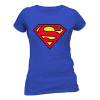 OFFICIAL DC COMICS SUPERMAN CLASSIC S LOGO T Shirt  Blue Womens MAN OF STEEL