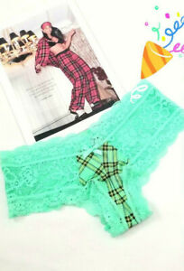 VICTORIA'S SECRET LACE TRIM CHEEKY PANTY GREEN PLAID FRONT SIZE S SMALL NEW WT