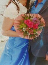 Langes himmelblaues Hochzeitskleid, Gr. 44, mit creme-weißem Bolerojäckchen