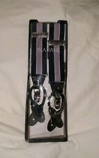 JOS A BANK SUSPENDERS BRACES, New in box Pink/Navy Blue leather ends
