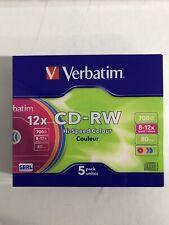 2x (10Sück) VERBATIM 43167 CD-RW 700 12X, Rohling  Slim Case Color NEU!