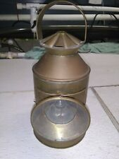 Antique copper lantern. Glass front
