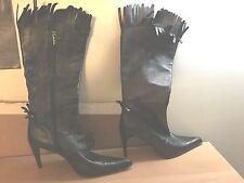 Vittorio Virgili Black Leather Fringed High Heel Calf High Boots Size 38