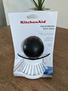 KitchenAid palm brush with dish in white