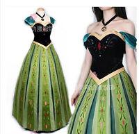Frozen Snow Queen Anna Cosplay Costume Cos coronation Dress women skirt
