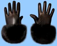 NEW MENS size 10 or 2XL GENUINE BLACK FOX FUR & LAMBSKIN LEATHER GLOVES