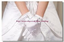 WHITE Satin Short Glove with Diamante Cross For FIRST COMMUNION GIRL DRESS/VEIL