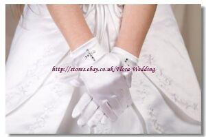 WHITE Satin Short Glove with Diamante Cross For FIRST COMMUNION GIRL DRESS/VEIL