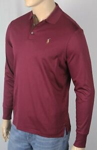 Ralph Lauren Red Wine Cotton Long Sleeve Polo Shirt Classic Fit Suede Placket NW