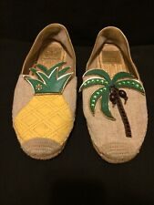 Tory Burch Castaway Tropical Pineapple & Coconut Tree Espadrille Shoes Size 8