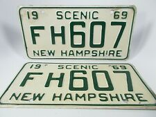1969 Pair New Hampshire Scenic License Plates,..19 Scenic 69 FH607 New Hampshire