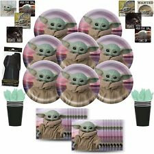 Baby Yoda Party Supplies Set for 8 - Plates, Cups, Napkins, Cutlery, & Stickers