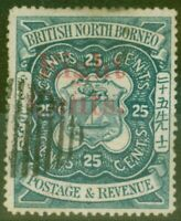 North Borneo 1890 8c on 25c Indigo SG52 Fine Used