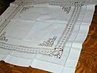 "Vintage White Linen Tablecloth Drawnwork, Small Sz 29"" Sq"