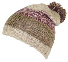 D&Y Adult Variegated Stripes Knit Winter Beanie Hat W/Pom Pom, Snow, #864 Beige