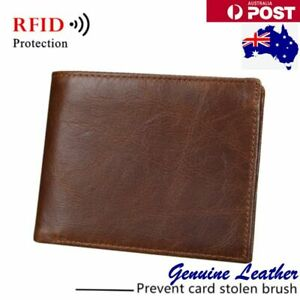 RFID Genuine Leather Wallet Credit Photos Card Holder Simple Thin for Man Travel