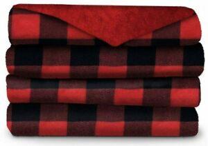 Sunbeam 50 Inch x 60 Inch Microplush Heated Throw in Red Plaid plush blanket