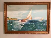 INCREDIBLE MASTERWORK ORIGINAL OIL PAINTING 'THE OLD MAN AND THE SEA'   FRAMED