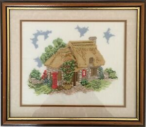 Stunning Vintage Needlepoint TAPESTRY Country Post Office Framed