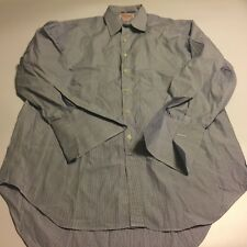 TM LEWIN London Blue Striped Button UP L/S Dress Shirt 16.5 / 42 S french cuff