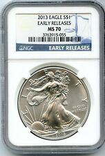 2013 American Silver Eagle 1 oz NGC MS70 Early Releases $1 Certified Coin AR833