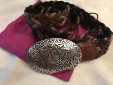 Etro Braided Leather Belt With Western Paisley Buckle