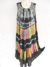 Tie Dye Tunic Boho Gypsy Viscose Umbrella Summer Dress MultiColor Black S M L XL