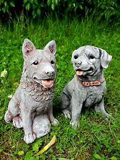 SITTING GERMAN SHEPHERD AND ROTTWEILER SET Stone Dog Statues Garden Ornaments