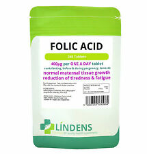 Folic Acid 400mcg, 240 tablets -folacin, vitamin B-9 conception, pregnancy, skin
