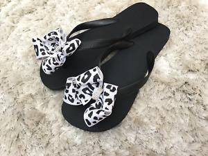 Black Flips/White/Black Cheetah Bow