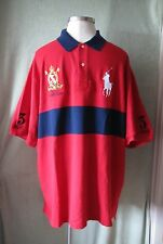 """Mens Ralph Lauren Red W White Big Pony SS Rugby Shirt RL Patch """"3"""" NWT $125 2XLT"""