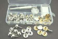 62PCS Stainless Steel Press Studs & Screw Bases Snap Fasteners Poppers Leather