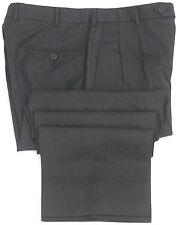 Brooks Brothers Pants 32 29 Black 346 Wool Trouser Pleated Uncuffed Men Size Sz