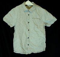 Boys Next Khaki Green White Pinstripe Linen Blend Short Sleeve Shirt Age 7 Years