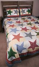 King Quilt Set Austin Primitive Country Home Americana Stars Coverlet